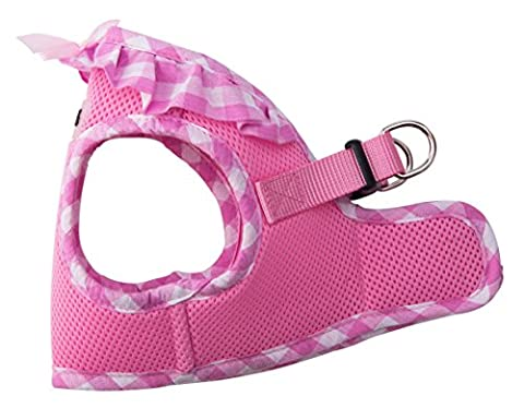 PUPTECK Checkered Frills Soft Mesh Dog Vest Harness Puppy Padded Pet Harnesses for Cat Small Dogs Pink Medium
