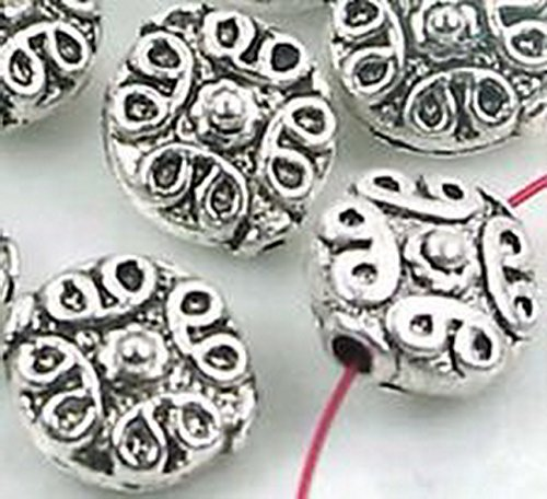 Burts Beads - 7 Silver Pewter Lentil Disc 12mm Beads Lead-Free (Ab 12mm Beads)