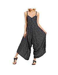 Kingfansion Women Striped Cami Lagenlook Romper Baggy Harem Jumpsuit Playsuit