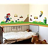 "super mario wall decal 48"" Nintendo super mario bros game theme wall sticker boys bedroom wall mural removable PEEL&STICK"
