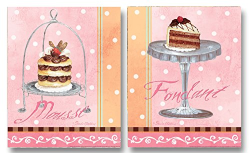 Cute, Vintage Dessert Mousse and Fondant Poster Prints Two Prints