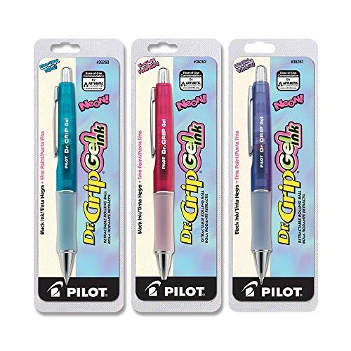 Pilot Dr. Grip Roller Ball Retractable Pen, Gel Ink, Bright Grip Bundle (Neon Bundle)