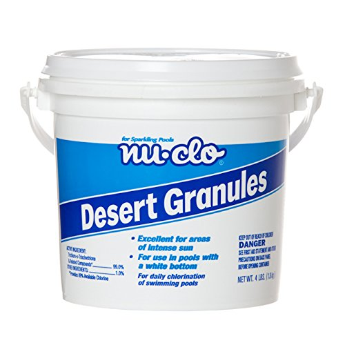 Nu-Clo 4 LB Desert Granules Trichlor for Swimming Pools - 1 oz Per 5,000 Gallons - UV Stabilized & 100% Soluble 3221