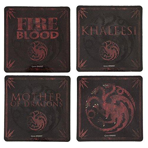 Game of Thrones Cork-Back Coaster Set, Multicolored (Targaryen)