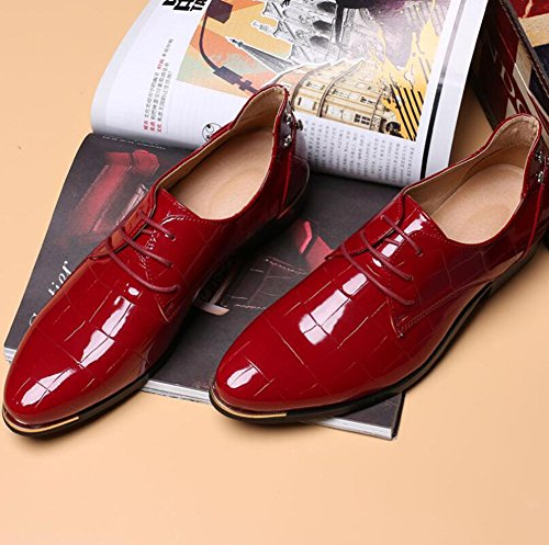Plain Shoes HUAN Pointed Fashion Blue Black Evening Shoes Toe A Men's Dress Toe Red Shoes Rivets PU Casual Shiny Party gRFYSq