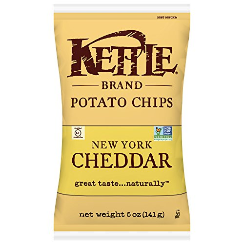 Kettle Brand Potato Chips, New York Cheddar, 5 Ounce Bags (Pack of 8)