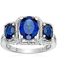 Sterling Silver Created Ceylon Sapphire and Diamond 3-Stone Ring