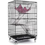 AVEEN 3-Tier Cat Cage Playpen Box Kennel Crate with 2 Front Doors & Free Hammock - 40 x 24 x 17 Inches(Black)