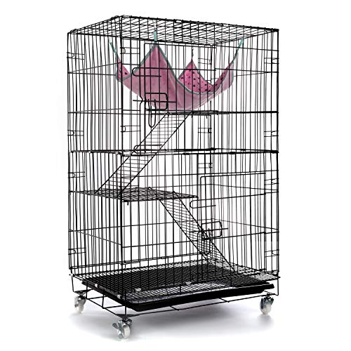 AVEEN 3-Tier Cat Cage Playpen Box Kennel Crate with 2 Front Doors & Free Hammock – 40 x 24 x 17 Inches(Black)