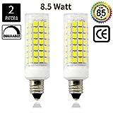 #6: E11 Led Bulbs, 8.5 Watt, 75W 100W halogen bulbs replacement,850 lumens,Daylight 6000K JD T3/T4 E11 mini candelabra base 110V 120V 130 voltage input, CRI>85, (pack of 2)