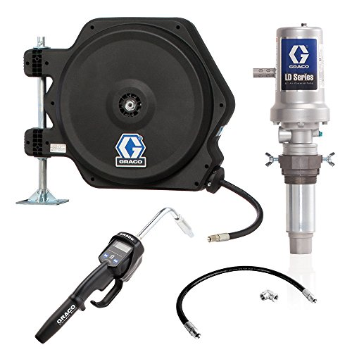 Air Powered Pump (Graco 24J777 LD Series Air-Powered 5:1 Oil Pump Tank, Package with Hose Reel, Electronic Dispense Meter, Inlet Kit and Mounting Bracket)