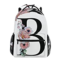 TropicalLife Letter B with Flower Backpacks Bookbag Shoulder Backpack Hiking Travel Daypack Casual Bags