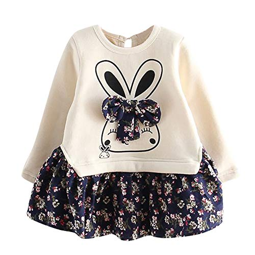 Hatoys Dresses Kids Baby Girl Cartoon Rabbit Bunny Floral Princess Party Dress Clothes
