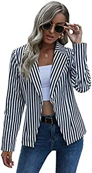 Floerns Women's Casual Work Office Open Front Striped Bl
