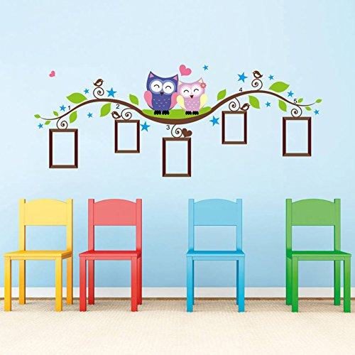 Aland-Removable Cartoon Owls Branch Photo Frame Wall Art Sticker DIY Decal Home ()