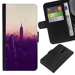 KingStore / Leather Etui en cuir / LG G3 / State Building de Nueva York Ver;