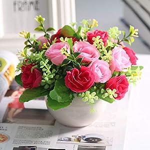 Nadalan Artificial Flower with Vase Rose Fake Flower Bouquets for Desk Home Decor (Rose-Pink) 4