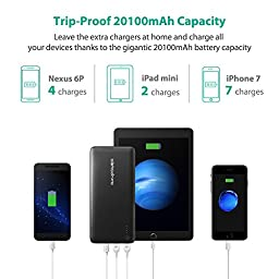 PD USB C Hubs Portable Charger RAVPower 20100 Power Bank 20100mAh 30W (Max.) Type C Port iSmart Data Transfer, USB C/Type C Output, External Battery Pack for MacBook, Laptops, Smartphones
