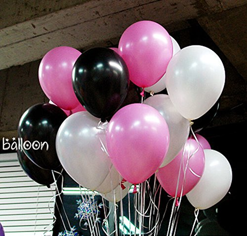 NEO 10'' Pink & Black & White Helium Balloons for Party Decoration 100pcs