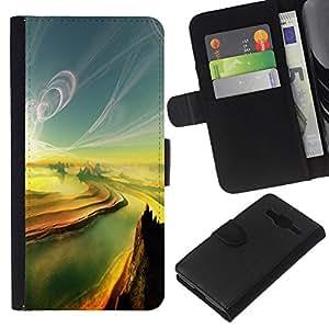 Stuss Case / Funda Carcasa PU de Cuero - Pintura Sunset Canyon Grand River - Samsung Galaxy Core Prime