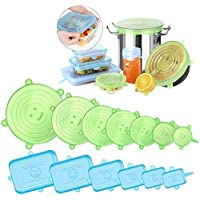 Emmabin Silicone Stretch Lids,13 Pack Silicone Food Covers Rectangular & Round Fit Various Shape of Containers, Dishes…