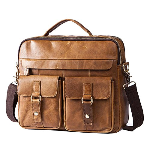 Genuine 8001 Leather Shoulder Gtuko Crossbody Handbags Business Bags Men Laptop Messenger Brown Bag Vintage Briefcase ECTOq
