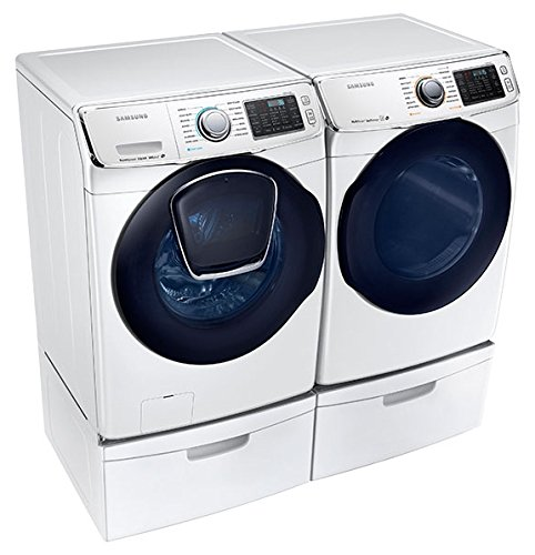 Samsung Mega Capacity Steam HE Front Load Laundry System with Innovative Add-A-Wash Door and GAS Dryer PLUS Matching Storage Pedestals (WF50K7500AW + DV50K7500GW + WE357AOW)