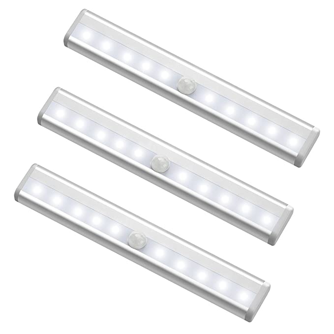 10 LED Motion Sensing Closet Lights, MagicBuds Super Bright Stick-on Anywhere Portable 10-LED Wireless Cabinet Night/ Stairs/ Step Light Bar with Magnetic Strip (3 Pack, Battery Operated)