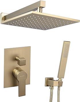 "12"" Shower Faucet Set Brushed Gold Bathroom Rain Square Shower Head with Valve"