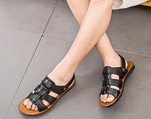 47 da uomo taglia sandali casual nere 45 freddi pantofole estivi da Nero spiaggia 46 scarpe toe Bebete5858 da uomo open Sandali grandi dimensioni scarpe vTwvaxPqt