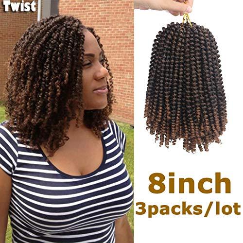Dorsanee 3 Packs Spring Twist Crochet Hair Extension Spring Twist Hair Kanekalon Synthetic Braiding Hair Ombre Color Short Afro Kinky Curly Hair Weave (1B/30#) ()