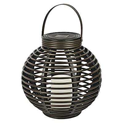 Threshold Dark Brown Solar Round Basket Lantern- Medium (Set of 2)