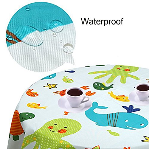 Splat Mat for Under High Chair/Arts/Crafts, Wo Baby Reusable Waterproof Anti-slip Floor Splash Mat, Portable Play Mat and Table Cover (51'', Seaworld) by Wo Baby (Image #3)