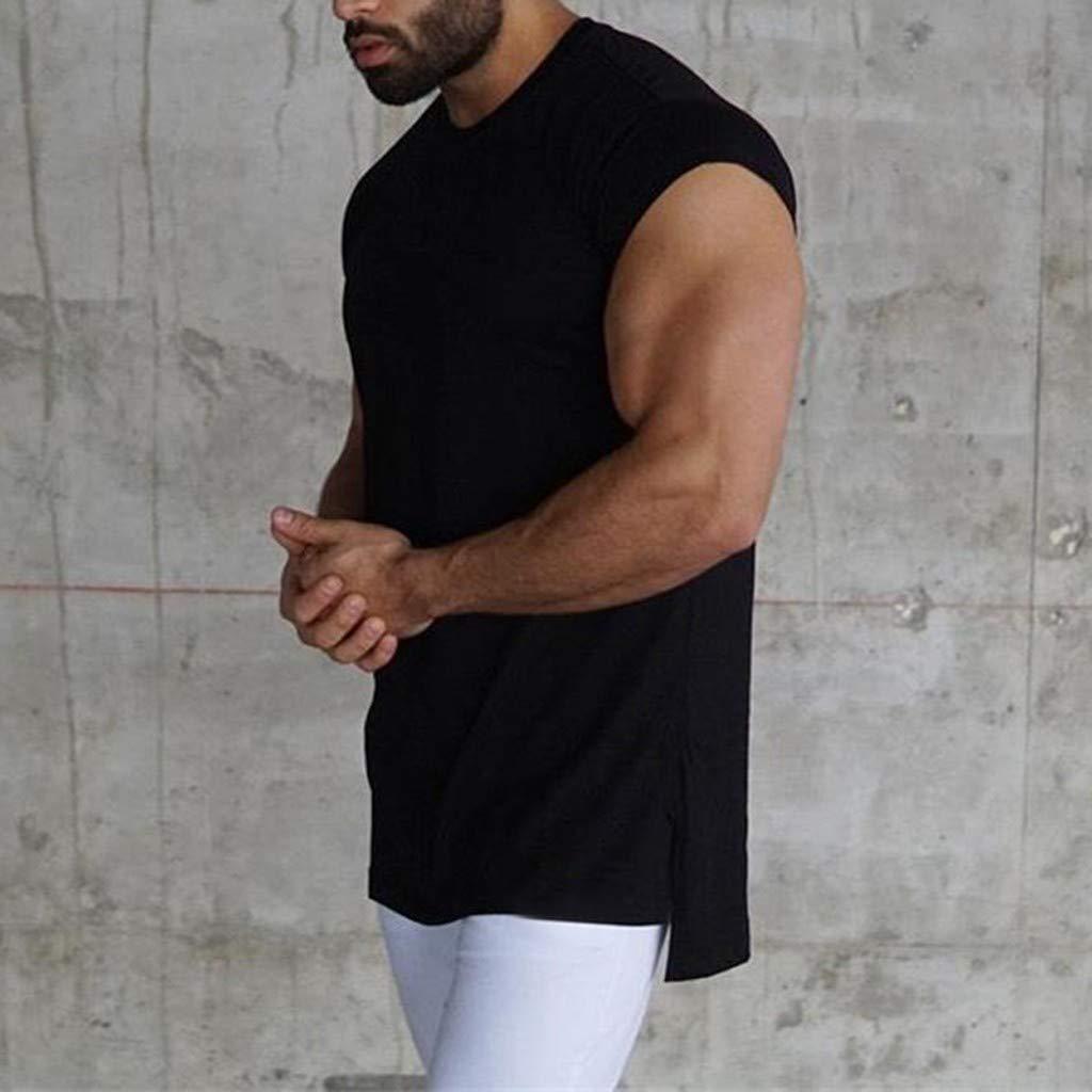 Canotte da Uomo Gilet Sportivo Maglietta Tinta Unita T-Shirt Tinta Unita Tops Fitness Magliette Estiva Tank Top Senza Maniche Camicie Honestyi