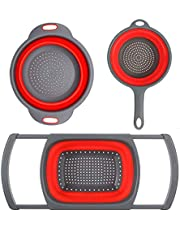 AmazeFresh 3-Packs Red Silicone Kitchen Collapsible Colander Set - 6-Quart Square Over The Sink Colander + 4qt Round Veggies/Fruit Basket Strainers and Colanders +2qt Pasta Strainer with Handle