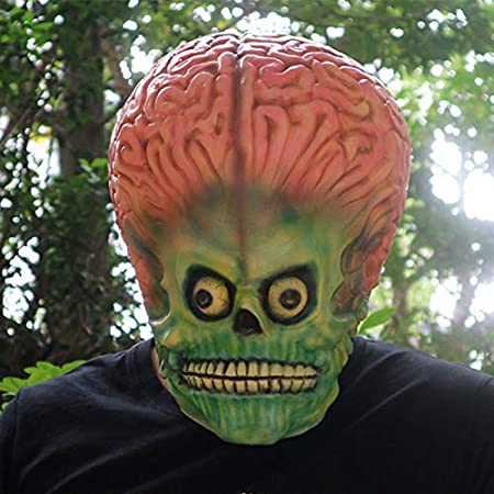 Scary Alien Brain Mask Latex Full Face Mask UFO Mars Cosplay ...