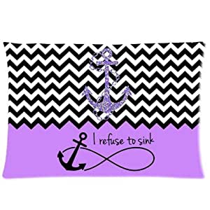 LarryToliver You deserve to have one side printing pillowcase Purple Block Chevron Zigzag Infinity Anchor Quotes I refuse to Sink size 20 X 30 inch satin fabric best pillow cases