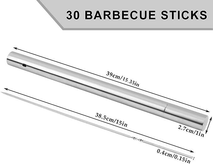 Brochetas de Acero Inoxidable Kabab con Tubo de Almacenamiento Port/átil -40CM 20 Piezas Brochetas de Carne Brochetas de Parrilla Reutilizables