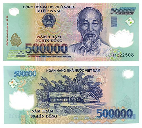 Nice1159 1 Million Vietnam Dong = 2 x 500,000 UNC Vietnamese Banknotes! Authentic Rare for Collectors (Only 3 Sets Left) US