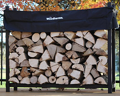 The Woodhaven 5 Foot Firewood Log Rack with Cover by The Woodhaven