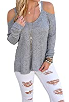 Dokotoo Womens Cold Shoulder Loose Knitted Sweater Top Blouse Small Grey