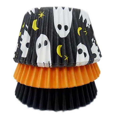 Scrumptious Sprinkles Ghost Orange and Black Cupcake Cases x 36, Fabric, Multicoloured, 10x10x7 cm