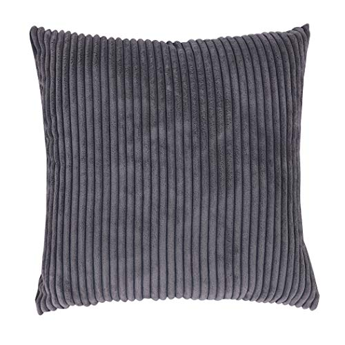 famibay Super Soft Pillow Covers Set of 2,Decorative Square Striped Velvet Corduroy Throw Pillow Case Cover with Zipper Gray Couch Cushion Covers 18
