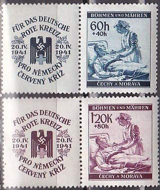 Bohemia Moravia 1941 Nazi-Era Red Cross Nurse Set of 2 Postage Stamps with Labels, Catalog No B3-B4
