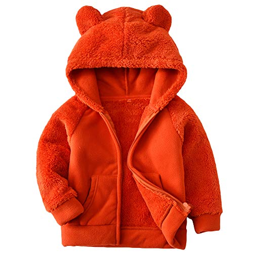 Goodkids Bear Ears Shape Fleece Warm Hoodies Clothes Toddler Zip-up Light Jacket Sweatshirt Outwear for Baby Boys Girls (Orange 100)