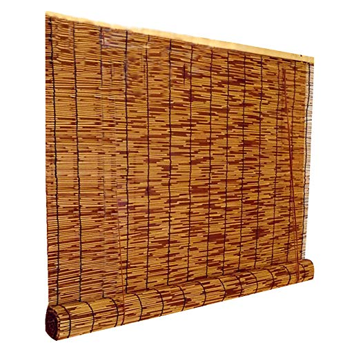Natural Bamboo Blind, Vintage Reed Window Shades, Shade/Dust-Proof, Suitable for Patio/Tea Room/Home, Customizable, Carbonized Color ◑