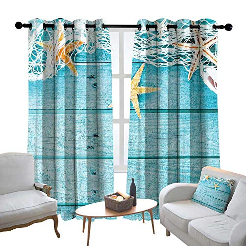 Lewis Coleridge Kitchen Curtains Starfish Decor,Rustic Wood Boards Fishing Net and Ocean Animals Nautical Print,Turquoise White Orange,Rod Pocket Drapes Thermal Insulated Panels Home décor ()
