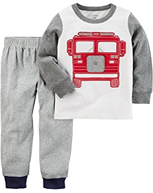 Baby Boys' 2-Piece Fireruck Tee and French Terry Pants Set