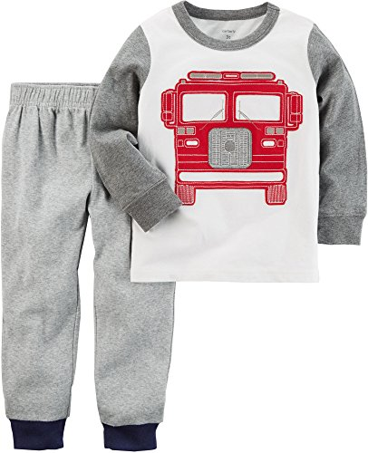 Carter's Baby Boys' 2 Piece Fireruck Tee and French Terry Pants Set, White, 6 Months