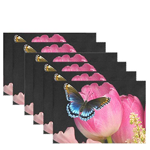 WIHVE Placemats Wipeable Dining Tulip Butterfly Table Mat Rectangle Polyester Washable Insulation Non-Slip Kitchen Placemat Set of 6
